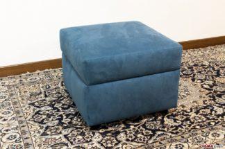 Pouf Con Contenitore in stoffa microfibra blu