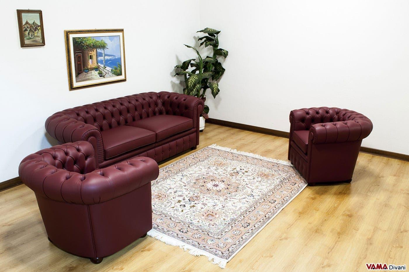 Salotto chesterfield in pelle colore rosso bordeaux - Come coprire un divano rovinato ...