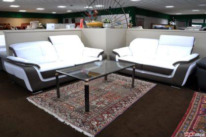 Salotto moderno in Pelle Bicolore con Meccanismo Relax