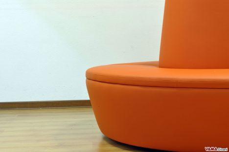 Seduta Divano Tondo in ecopelle arancione