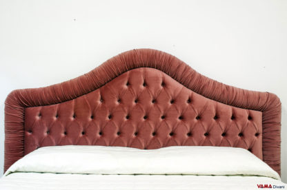 Testata letto imbottita in Capitonne in Velluto rosa