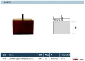 Misure Piedino in Legno quadrato Art.052