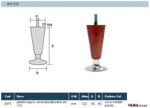 Misure Piedino in Legno e piattino Acciaio Art.115