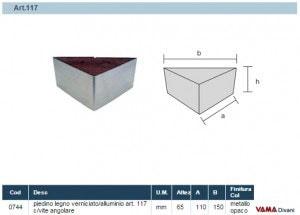 Misure Piedino in Legno e Acciaio Art.117