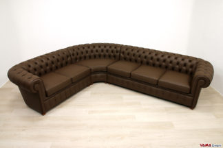Divano Chesterfield angolare in pelle marrone