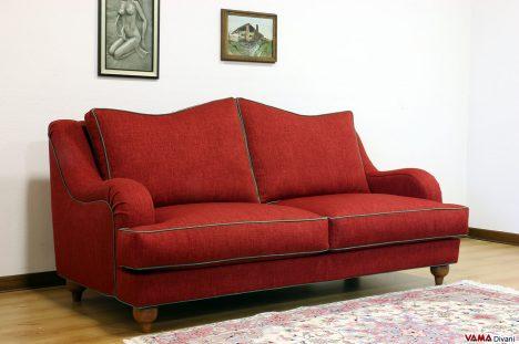 Divano classico moderno in tessuto rosso