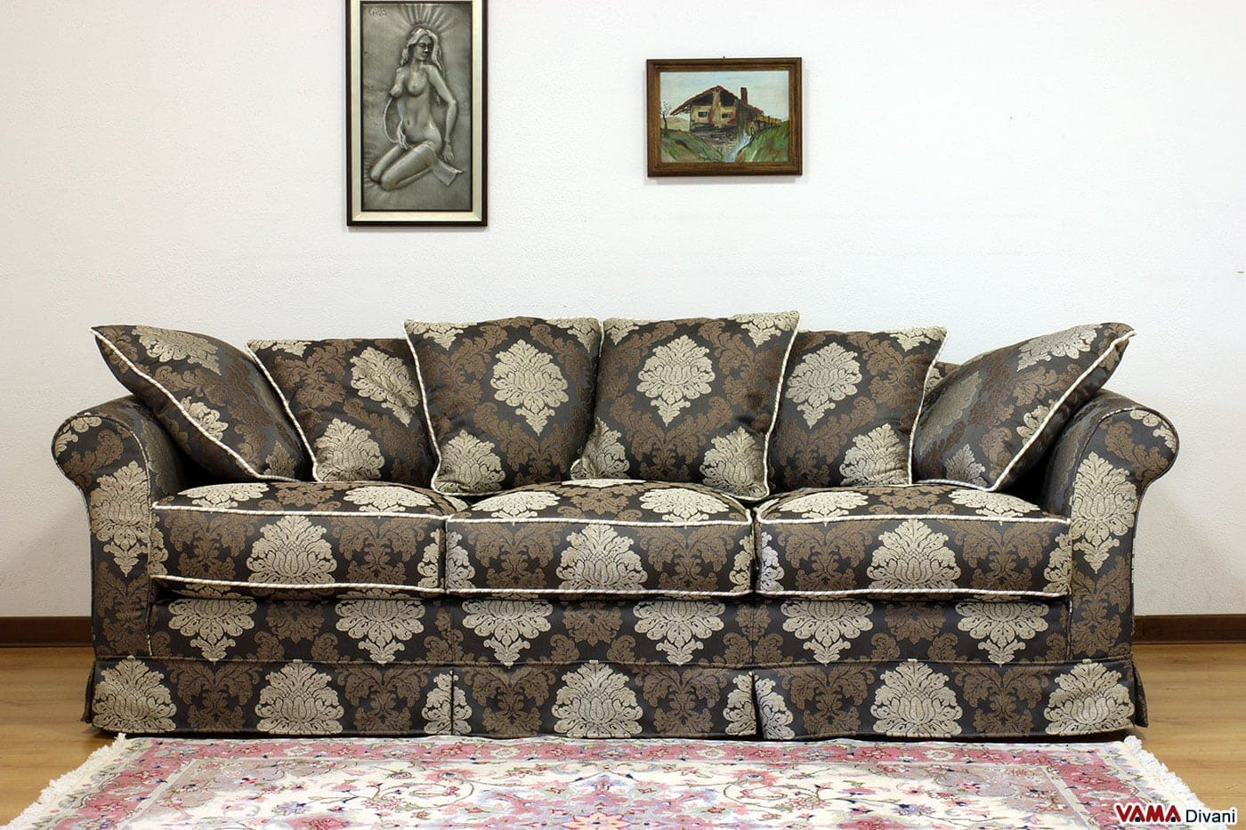 Divano in tessuto sfoderabile in stile classico ville - Divano tessuto damascato ...
