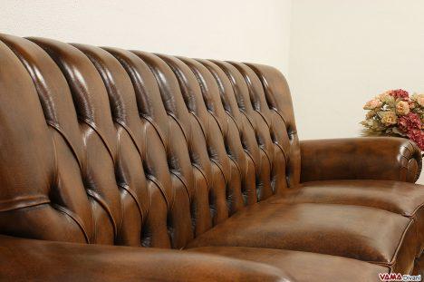 divano di lusso in pelle pregiata marrone