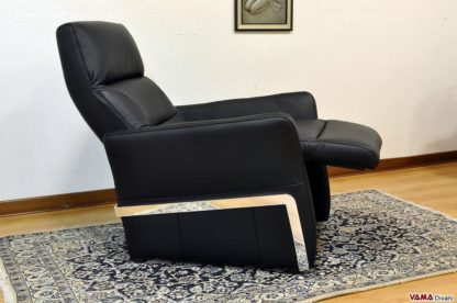 Poltrona relax manuale in pelle nera