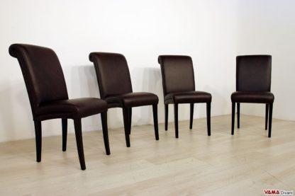Sedie imbottite con piedi alti in legno