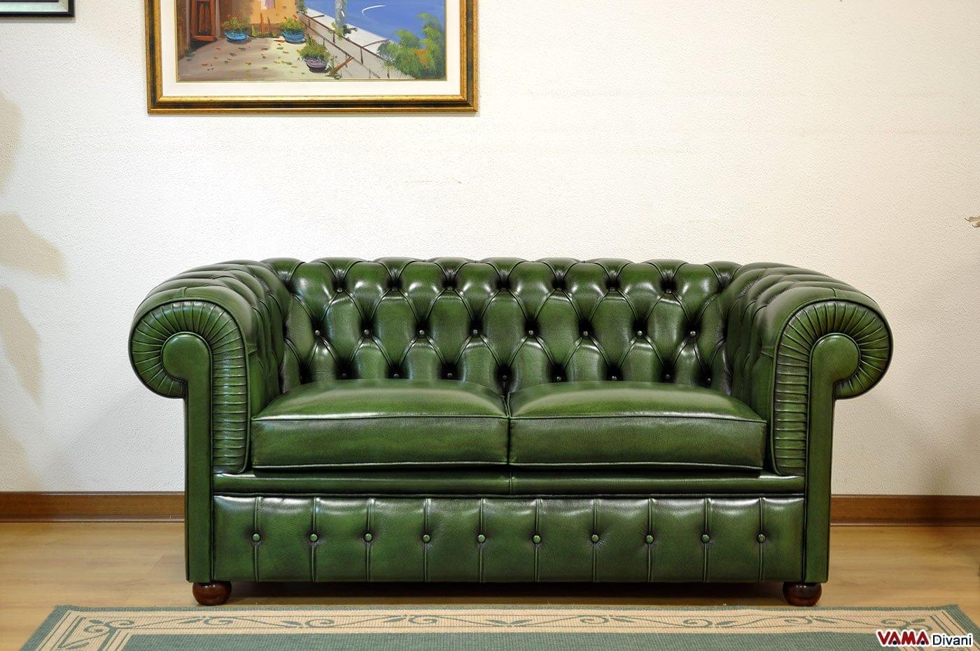 Divano Chester Verde Inglese in Vera Pelle Invecchiata a Mano