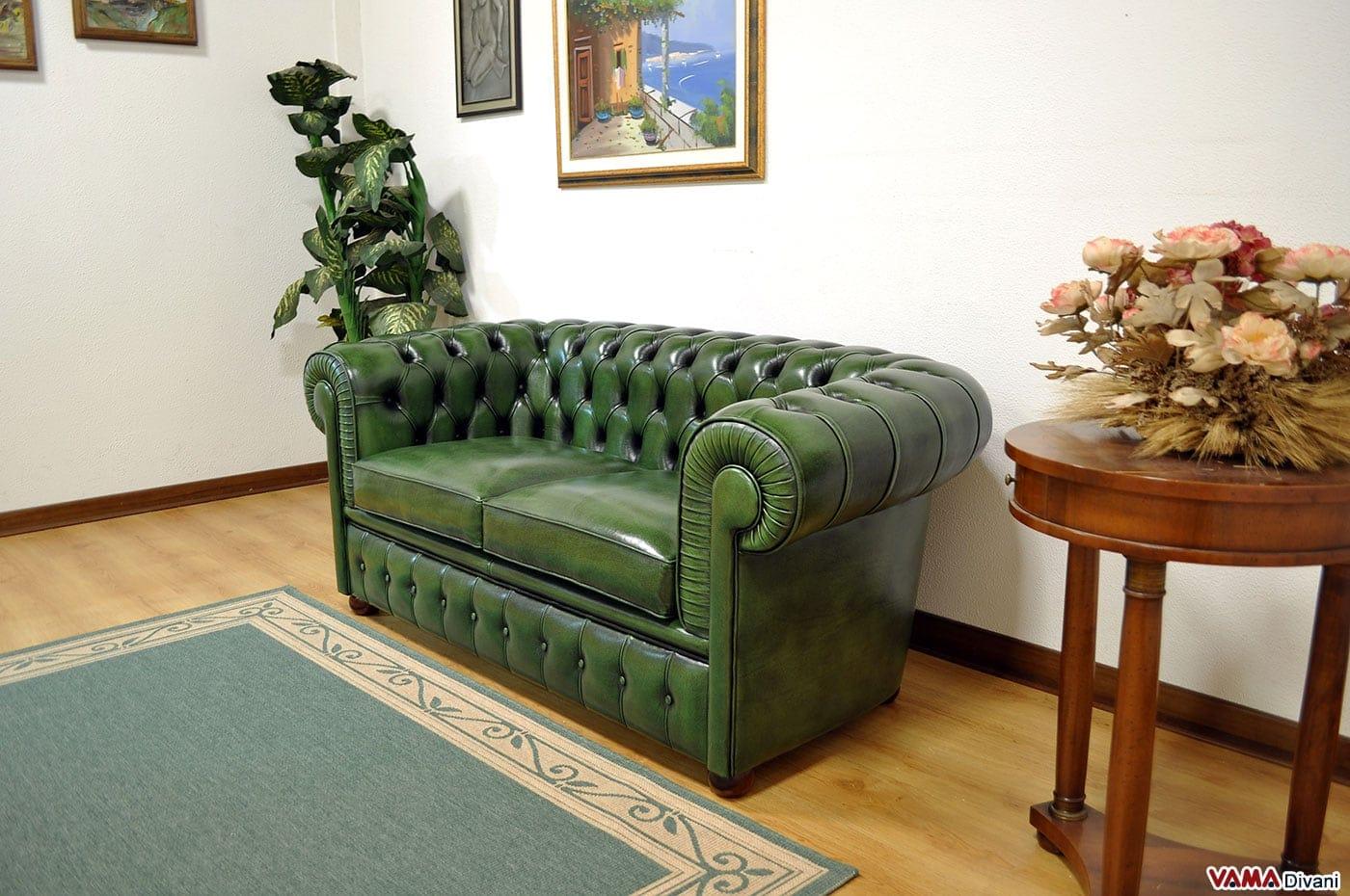 Divano chester verde inglese in vera pelle invecchiata a mano for Chester angolare