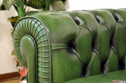 Divano Chesterfield in Pelle Verde Inglese