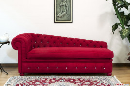 Dormeuse Chesterfield Rossa in Microfibra