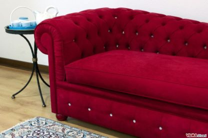 Dormeuse Chesterfield in Microfibra Rosso