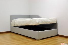 Letti moderni in pelle e tessuto con contenitore e su misura - Testate di letto imbottite ...