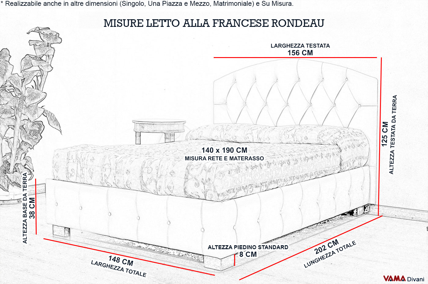 Letto con testiera curva alla francese e base bottonata - Misure letto alla francese ...