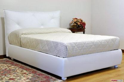 Letto moderno bianco in pelle con contenitore