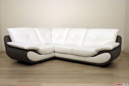 Divano angolare moderno in pelle bianca e grigia