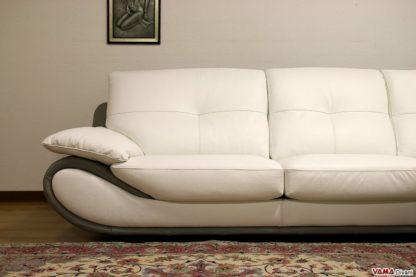 Divano moderno ad angolo in pelle fiore bianco e grigio