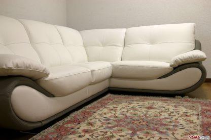 Divano moderno angolare in pelle bianco e grigio