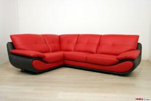 Divano angolare moderno rosso e nero