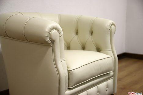 Poltrona camera da letto in pelle beige