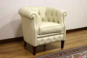 Poltrona classica camera da letto in pelle avorio