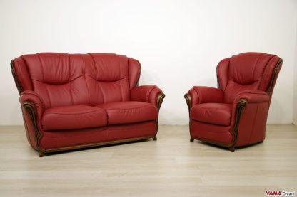 Salotto classico rosso in pelle e legno