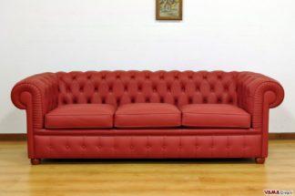 Divano Chesterfield in Offerta 3 Posti in vera pelle di colore Rosso