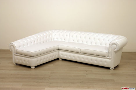 Divano chaise longue Chesterfield bianco in pelle