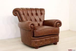 Poltrona vintage in pelle marrone di lusso