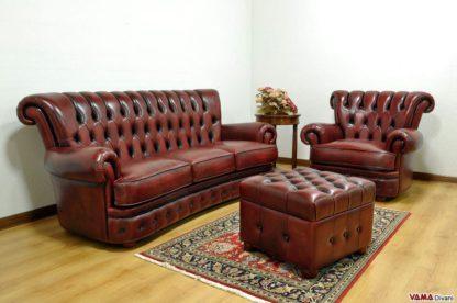 Salotto di Lusso in pelle invecchiata di colore rosso