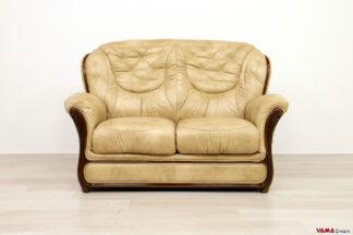 Divano classico con schienale alto 2 posti in pelle e legno