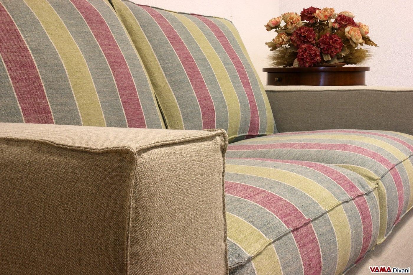 Divano moderno lineare in tessuto in pelle ed anche su misura - Rivestimento divano costo ...