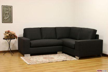 divano ad angolo in tessuto nero moderno