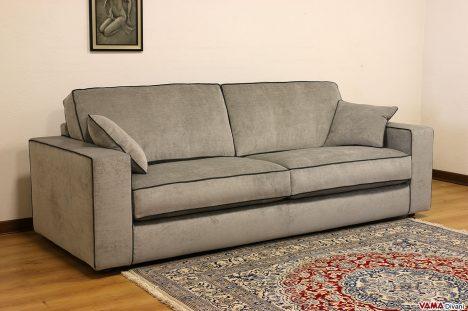 divano squadrato in tessuto grigio moderno
