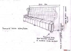 Disegno divano da pub o bar