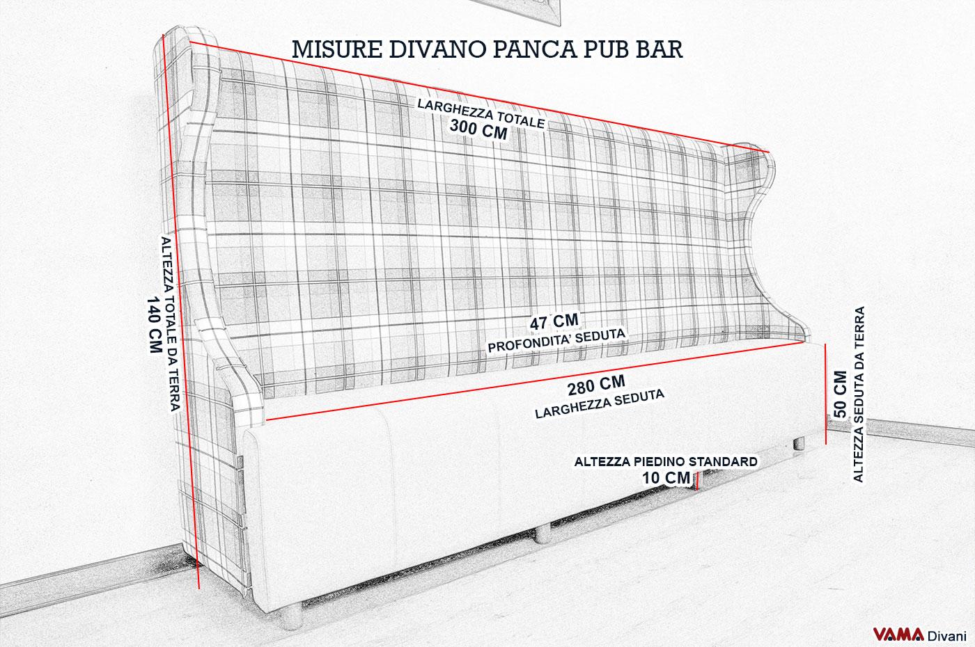Larghezza divano fabulous divano misure descrizione with for Dimensioni divano