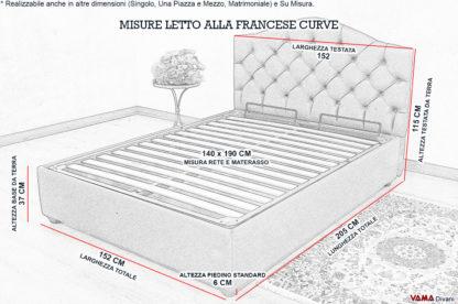 Misure letto alla Francese con contenitore