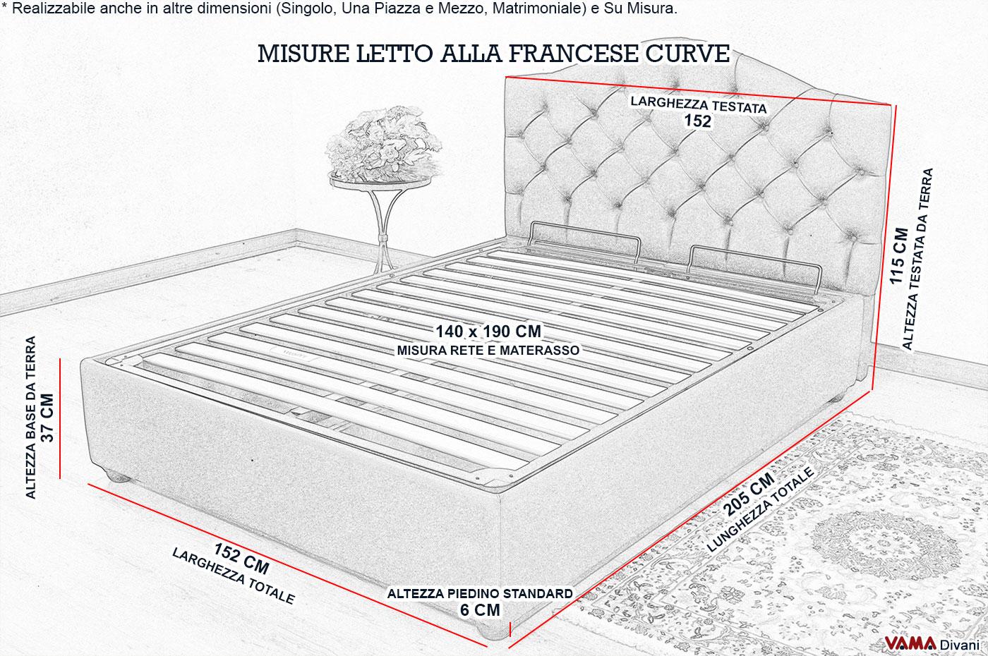 Letto alla francese con contenitore e testata curva - Dimensioni letto alla francese ...