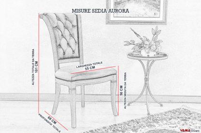 Misure e dimensioni sedia capitonnè sullo schienale