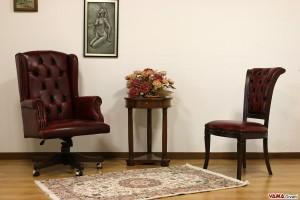 Poltrona e sedia da ufficio in pelle vintage