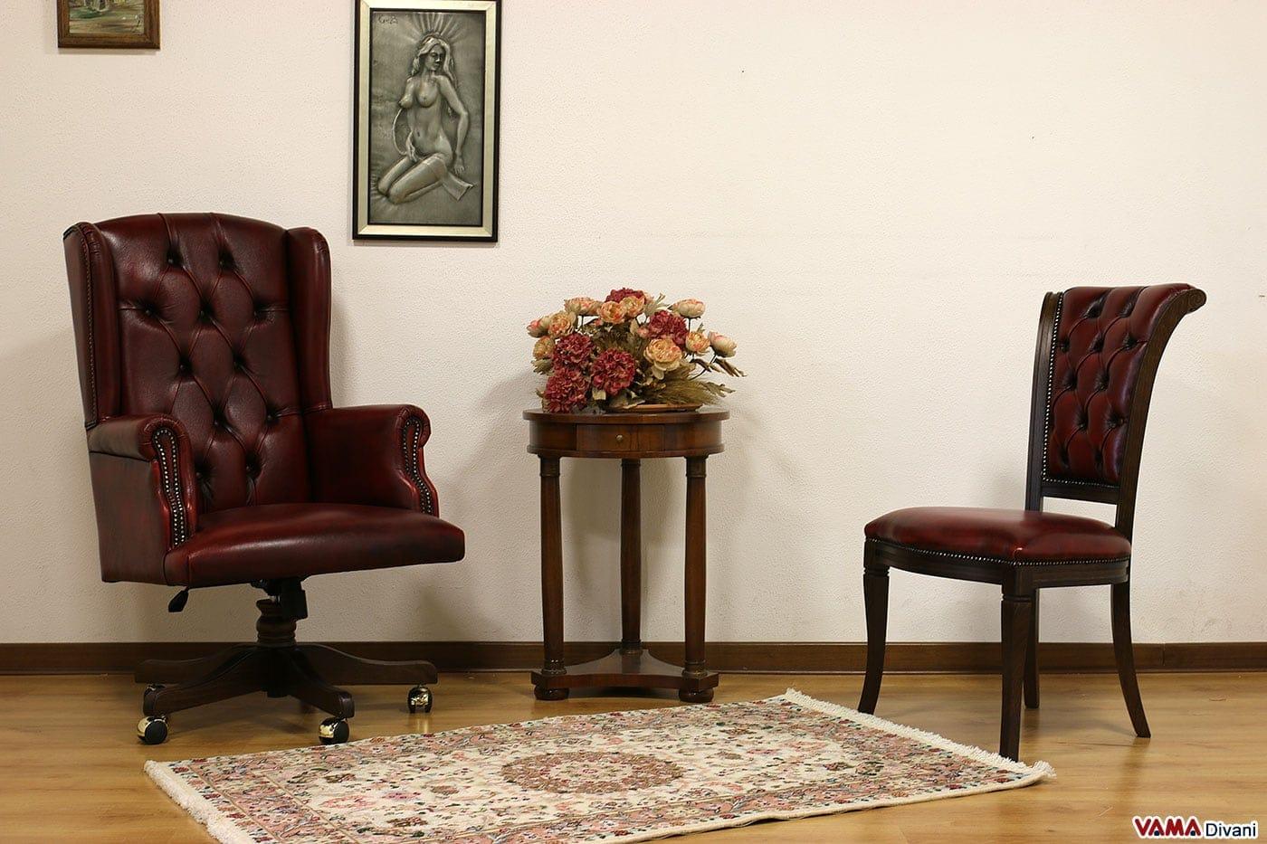 Poltrona da ufficio classica di lusso in pelle con girevole for Poltrona vintage pelle