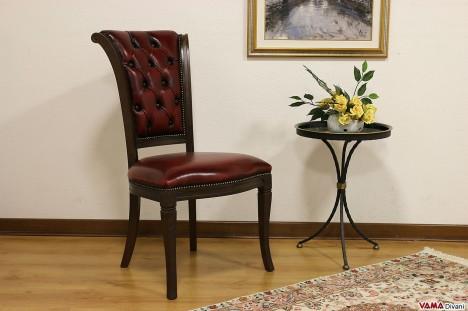 Sedia classica capitonnè in legno massello in pelle rossa bordò