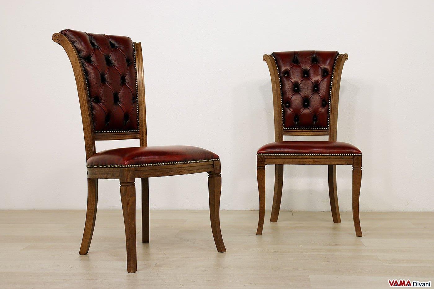 Sedia classica con lavorazione capitonn sullo schienale for Sedute da ufficio