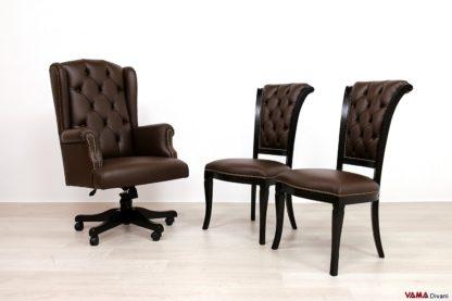 Poltrona e sedie da ufficio in pelle marrone
