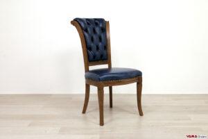 Sedia imbottita capitonné blu in pelle vintage