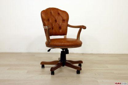 Poltrona ufficio legno e pelle marrone chiaro