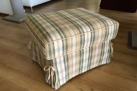 Pouf poggiapiedi in offerta in tessuto a quadri scozzese